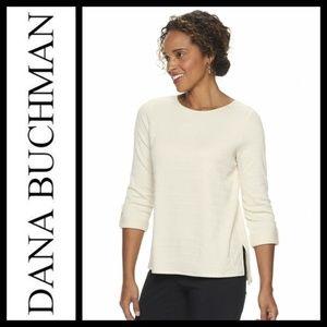 Dana Buchman Chalk Hill Textured Roll-Tab Top NWT